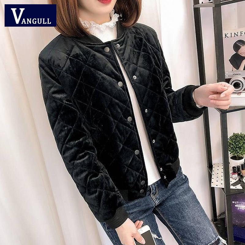 Vangull Velvet Women   Basic     Jacket   2019 New Autumn Winter Fashion Slim Solid Outerwear Long Sleeve Female Coat Baseball Uniform