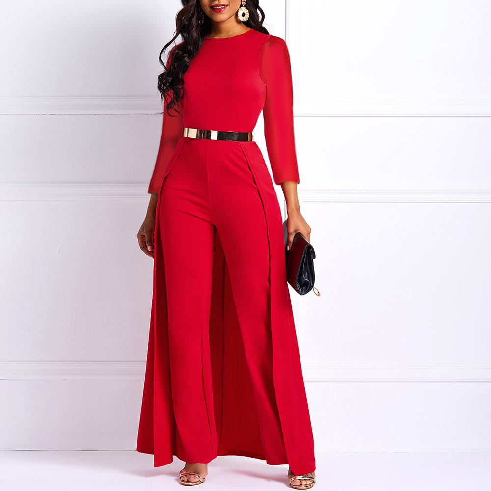 Long Sleeve Plus Size High Waist Straight Plain Jumpsuit Women Elegant Formal Party Swallowtail Slim Ladies Wide Leg Jumpsuits