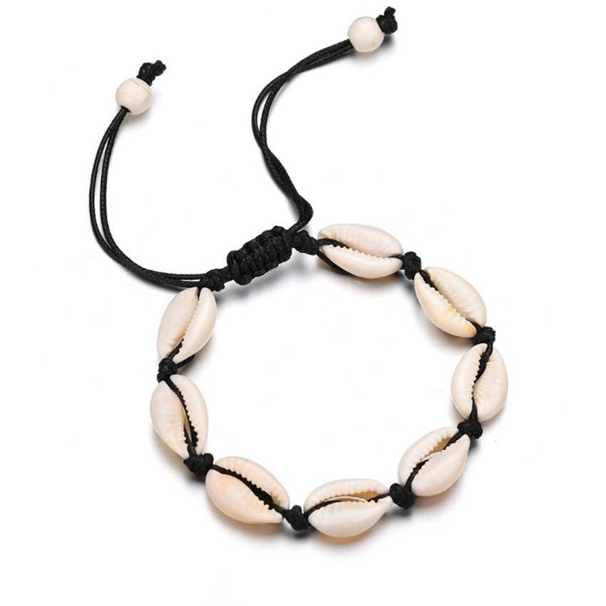 Cxwind ボヘミアンスタイルのネックレス女性のためのシェル巻き貝ビーズチョーカーネックレス女性の休暇ギフト collares