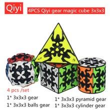 4 Pcs/set QiYi Magic cube Gear cube  4 Stks/set Qiyi Magische Kubus Gear 3X3X3 Piramide Gear Cube Qiyi 3X3 Puzzel professionele magische kubus Qiyi Gear Cube Educatief Speelgoed Game Cube