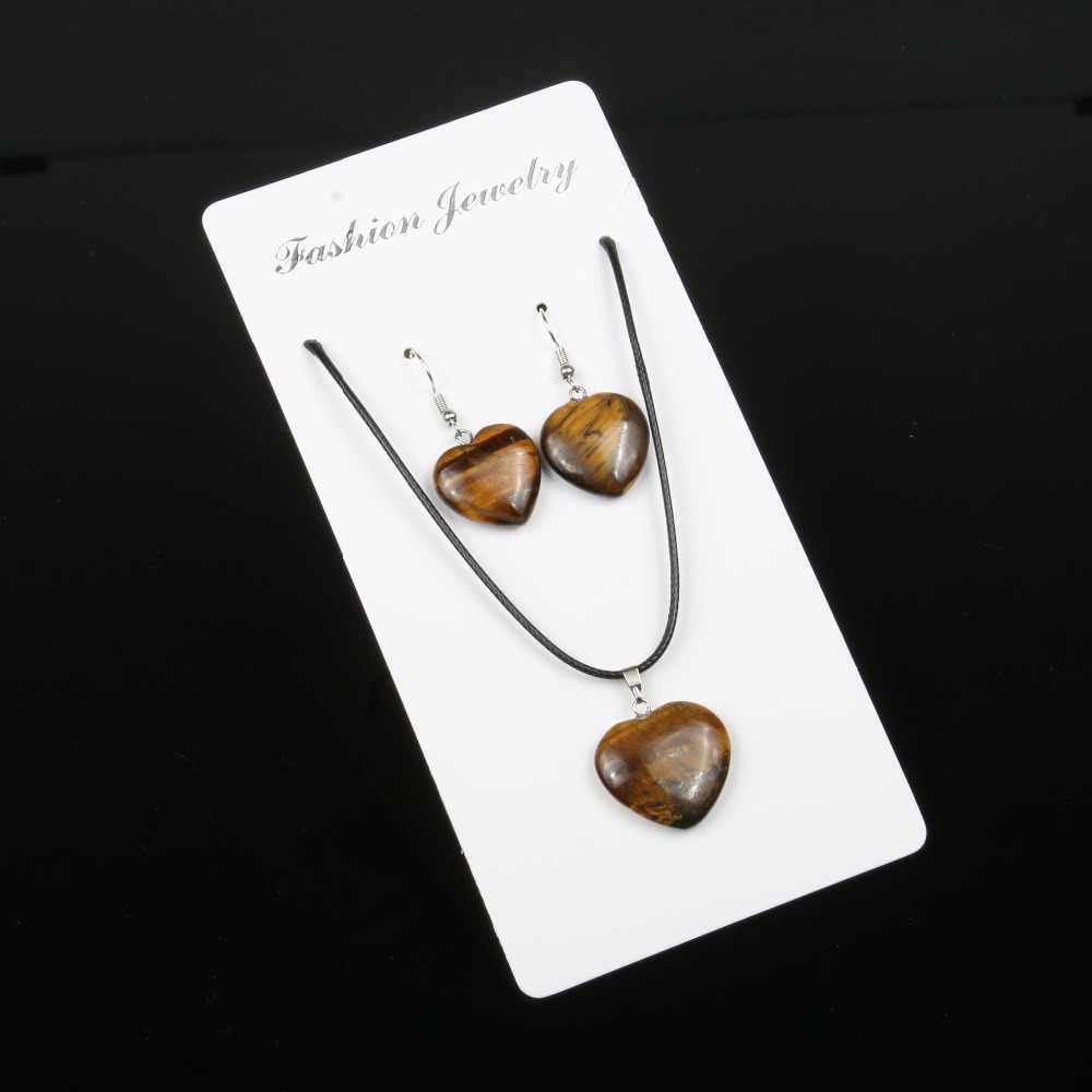 Wholesale Natural Stone Heart Pendant Earringst Necklace Set Choker for Women 10 Colors Natural Crystal Agates Chain Necklace