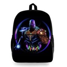 New Cool 16inch School Bag for Boys Marvel Superhero Thanos Print Backpack Schoolbag Teenager Backpacks Kids Bags