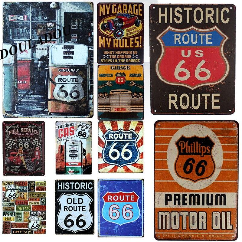 [Douladou] US Route 66 moto rétro affiche Vintage métal étain signe Art affiche plaque Bar Pub Garage chambre décor 30*20CM