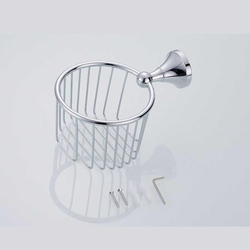 Banheiro de prata cromo suporte papel wc rolo cesta cabide de papel fixado na parede do vintage dispensador ouro rolo de armazenamento de papel higiênico