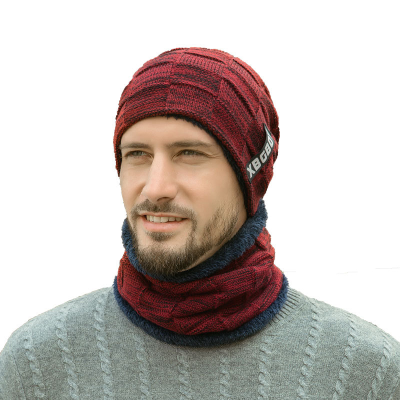 Men Winter Neck Warmer Knitted Hat Scarf Set Fur Wool Lining Thick Warm Knit Beanies Hat Cap Skullies Bonnet