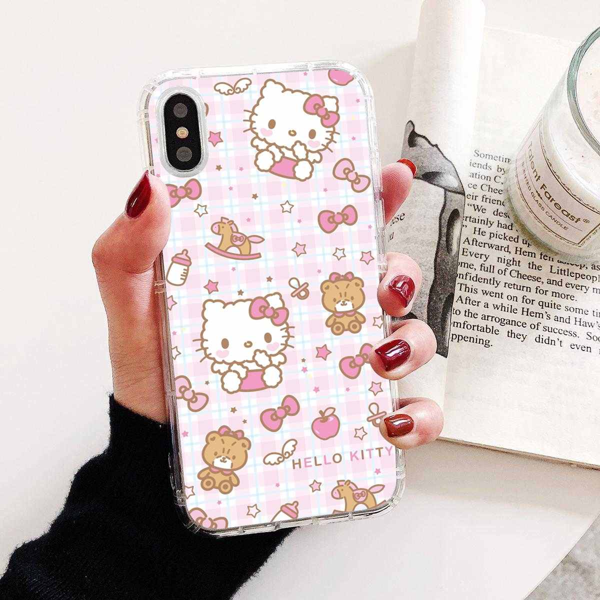 Soft SHELL Hello Kitty CoolสำหรับiPhone 11 Pro 4 4S 5S SE 5C 6 6S 7 8 X XR XS Plus MAXสำหรับiPod Touch