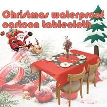 Традиционная Рождественская скатерть, вечерние, новогодние, с принтом красного, рождественского лося, Рождественская скатерть, домашний сад, домашний текстиль