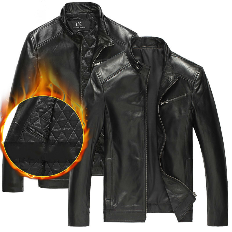 Genuine Leather Jacket Men Sheepskin Coat Motorcycle Men's Leather Jackets Winter Chaqueta Cuero Hombre DK108 KJ2107