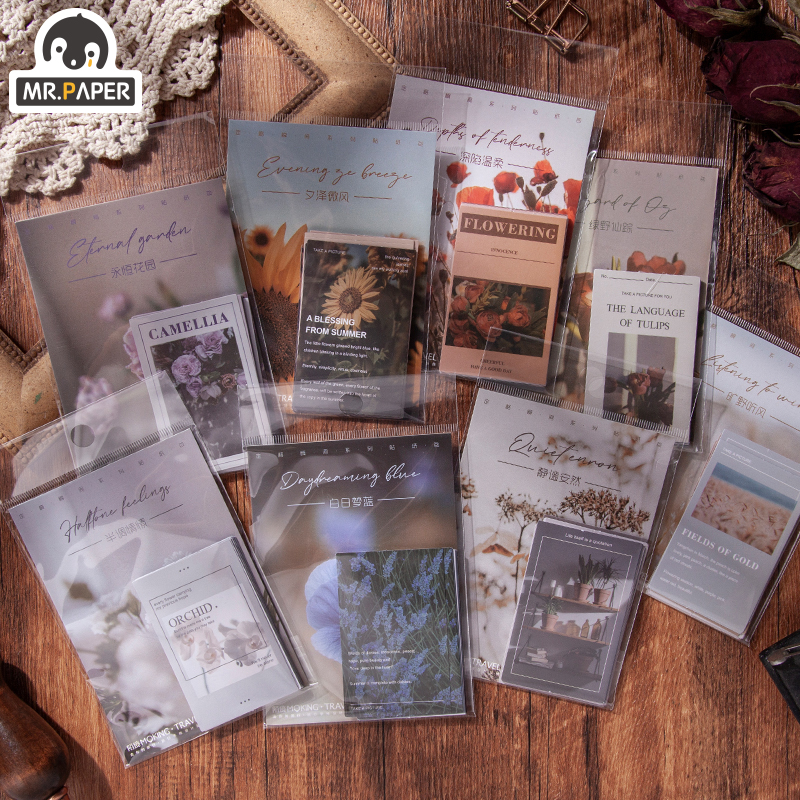 Mr.paper 20Pcs/bag 8 Designs Retro Flower Style Pet Deco Diary Stickers Scrapbooking Planner Decorat