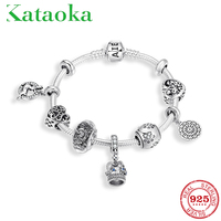 Top quality 925 Sterling Silver Crown Charm pendant Bracelet & Bangle with Love Glass Beads Women Wedding ANNIVERSARY Jewelry