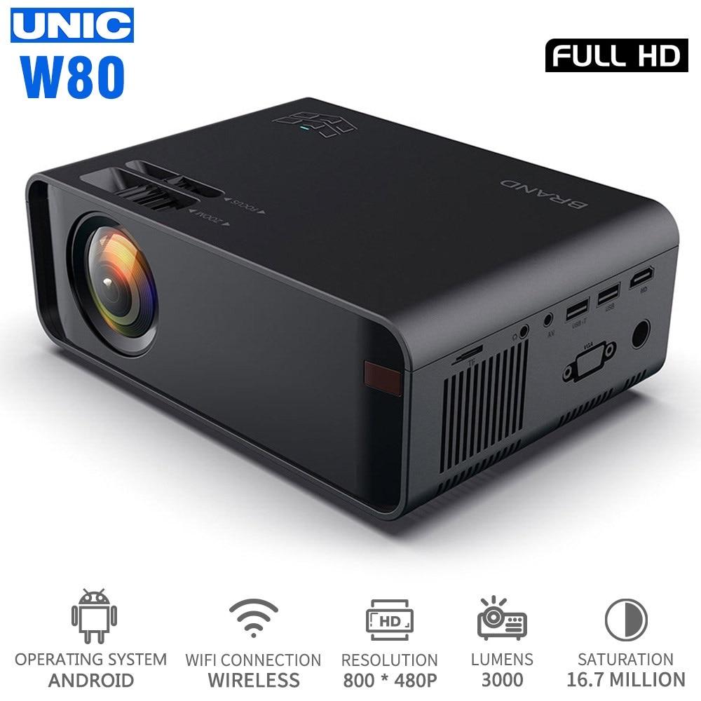 UNIC W80 LED Full HD 1080P 3000 lm projektor 4K WIFI HDMI USB Bluetooth LCD kino domowe odtwarzacz multimedialny Android Beamer synchronizacja telefonu