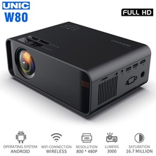 UNIC W80 LED Full HD 1080P 3000LM Projector 4K WIFI HDMI USB Bluetooth LCD Home