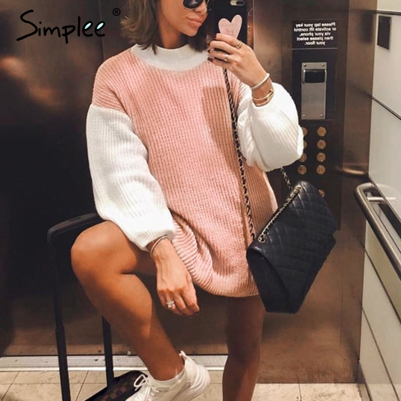 Simplee Turtleneck Patchwork Pullover Sweaters Women Autumn Winter Long Sleeve Female Sweater Casual Streetwear Ladies Jumper