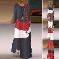 ZANZEA 2020 femmes automne Robe d'été couture Maxi Robe décontracté à manches longues tunique Vestidos femme coton lin Robe grande taille