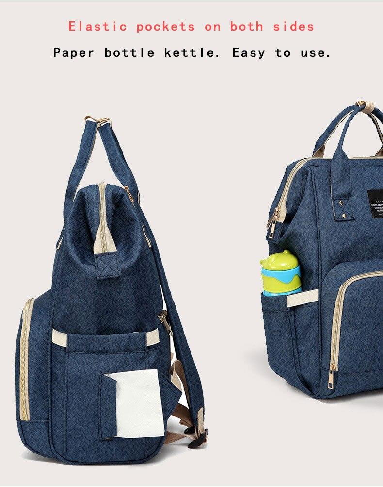H57e701f814814844b80cd8976cedb8b3O Fashion Mummy Maternity Nappy Bag Waterproof Diaper Bag With USB Stroller Travel Backpack Multi-pocket Nursing Bag for Baby Care