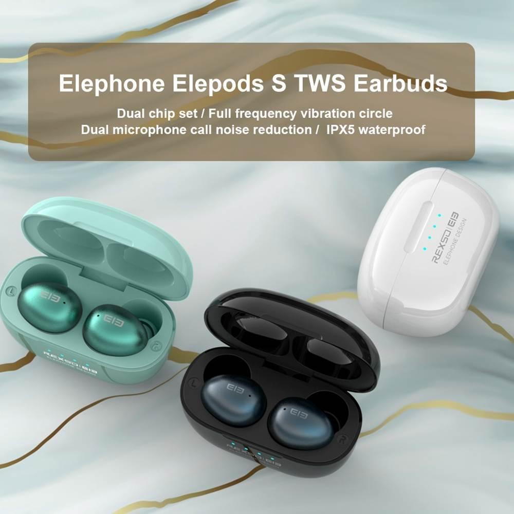 Elephone Elepods S TWS bluetooth Earbuds Mini HiFi Stereo Earphone Dual Mic Noise Cancelling Waterproof Sports Headset AAC APT