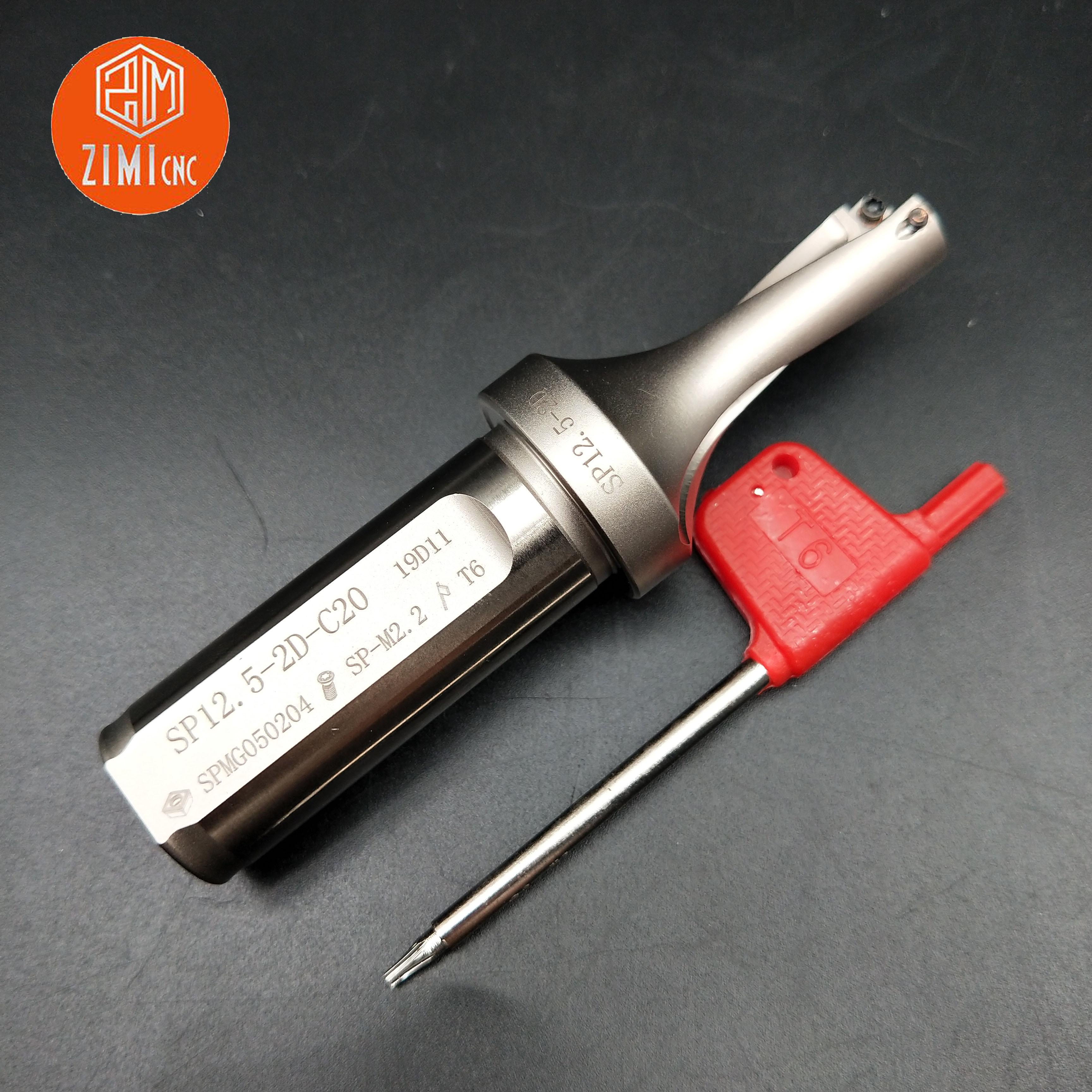 1pcs SP-12.5-2D-C20 U Drill 20mm*12.5mm Indexable U-shaped Drill 2 Blade SP C20-12.5 Metal Drill CNC Lathe Cutting Tool