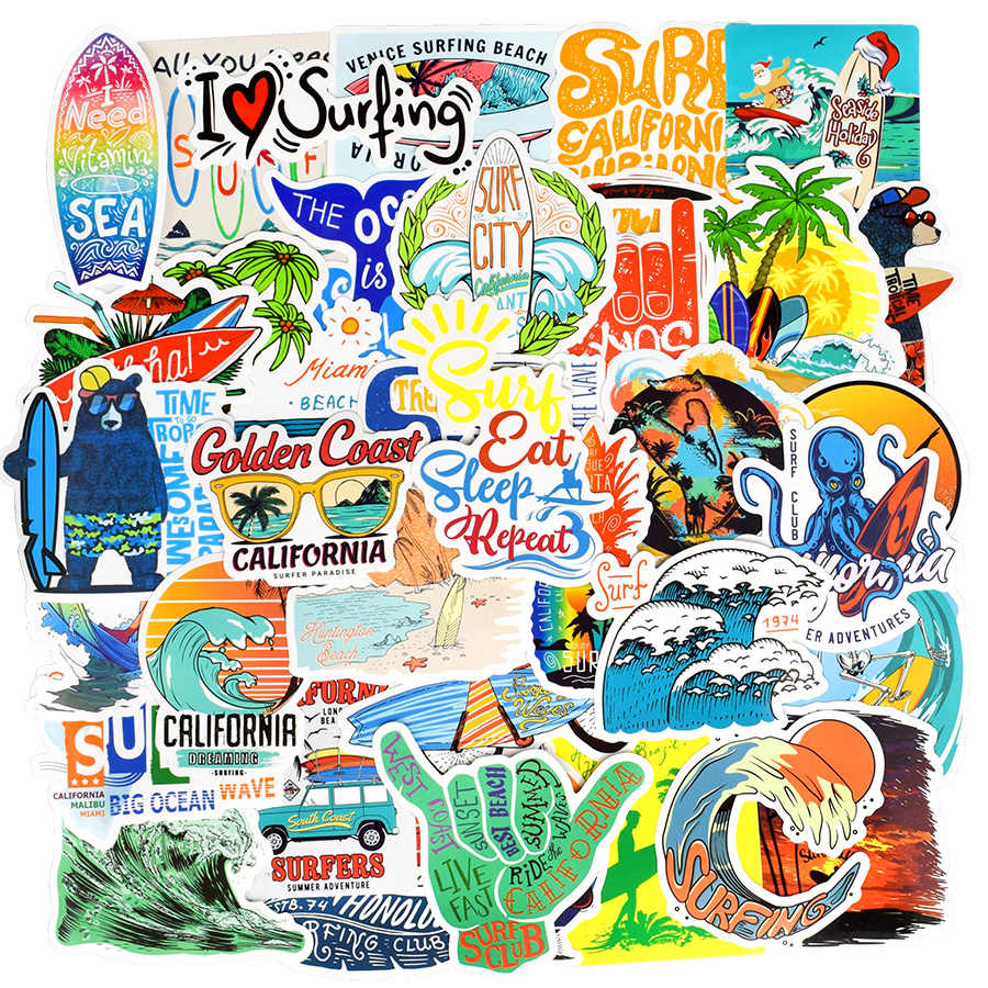 50 Buah Musim Panas Surfing Stiker Pantai Graffiti Surf Stiker DIY untuk Papan Selancar Laptop Bagasi Sepeda Tablet Botol Air
