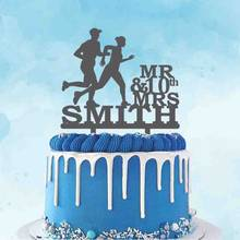 Personalizado seu número 10th 20th aniversário de casamento bolo topper personalizado mr sra. nome casal correndo silhueta bolo topper