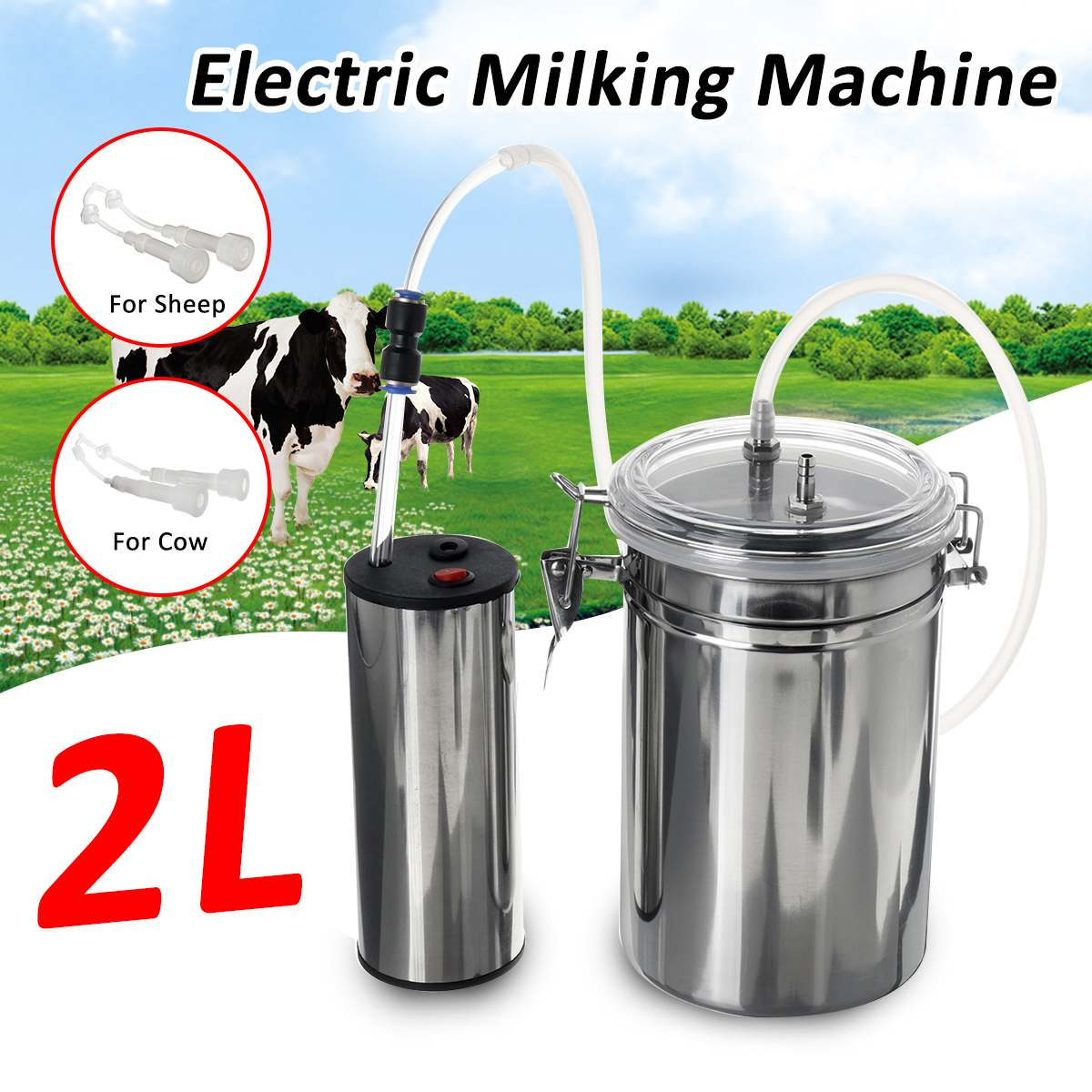 2L Portable Electric Milking Machine Vacuum Pump Stainless Steel For Cow Goat US