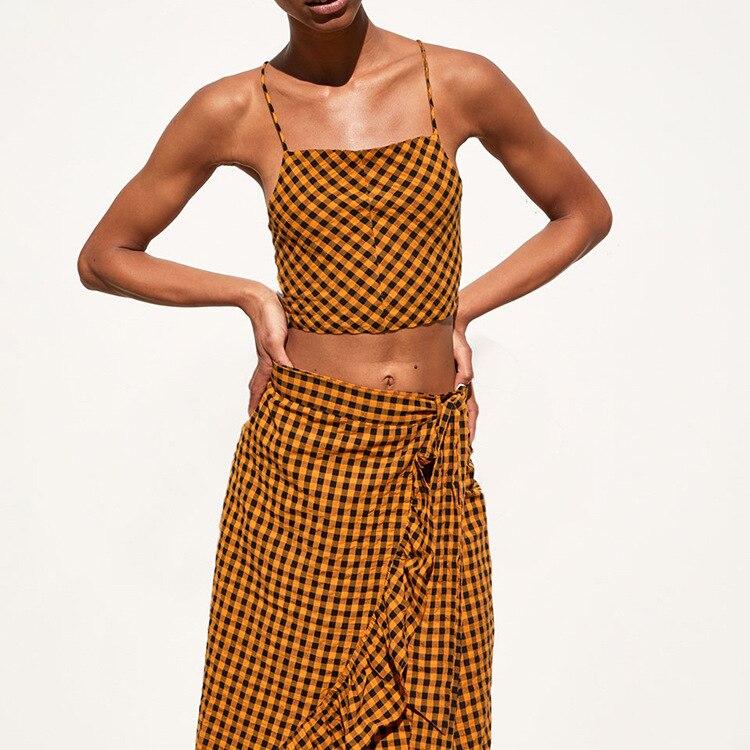 Western Style Summer Women's Vichy Lattice Wrap-around WOMEN'S Casual Coat + Pattern Flash Xie Jin Women Overskirt Set