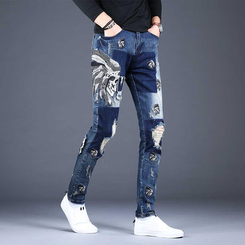 Pantalones Vaqueros Rasgados Con Parche Azul Para Hombre Pantalones Pitillo Desgastados Con Bordado De Estilo Coreano Ropa De Calle Vaqueros 2020 Pantalones Vaqueros Aliexpress