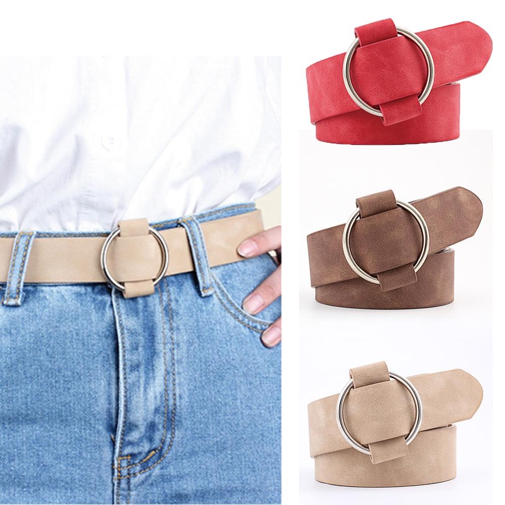 Women Leather Belt Luxury Metal Round Buckle Belts Female Leisure Jeans Wild Without Pin Buckle Women Waist Belt Cinturon Mujer