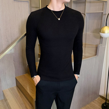 Autumn and winter new fashion trend men's solid round neck slim long sleeve knitting T-shirt  4874