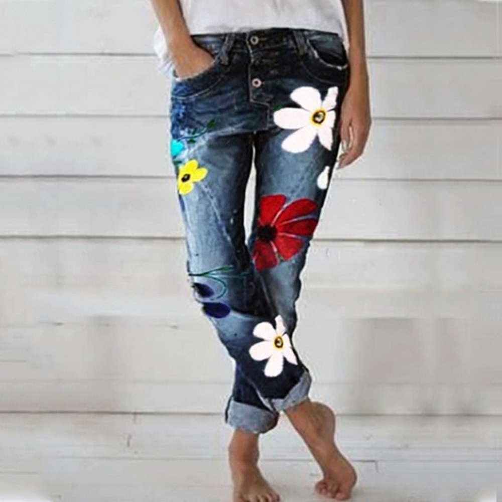 2019 Fashion Women Deep Blue Denim Pants Middle Waist Jeans Women Skinny Slim Pant Denim Jeans Retro Bell Bottom Stretch Trouser