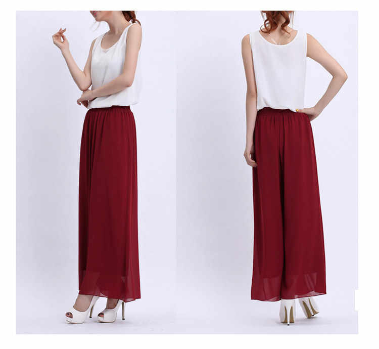 Kadınlar geniş bacak uzun pantolon siyah beyaz pembe şifon etek pantolon moda Skorts Culottes pantolon gevşek yüksek bel pantolon