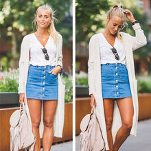 Denim Skirt High Waist A-line Mini Skirts Women 2019 Summer New Arrivals Single Button Pockets Blue Jean Skirt Style Jeans New(China)