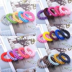 Style mixte haute élasticité coloré téléphone fil ligne Bracelets élastique cheveux cravates corde élastique pour queue de cheval cheveux gomme caoutchouc