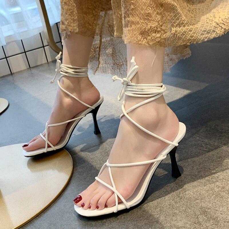 Cross Bandage High Heels Sandals Women Pumps Summer Fashion Lace-Up High Heels Peep Toe Shoes Female Square Heel Ladies Sandals