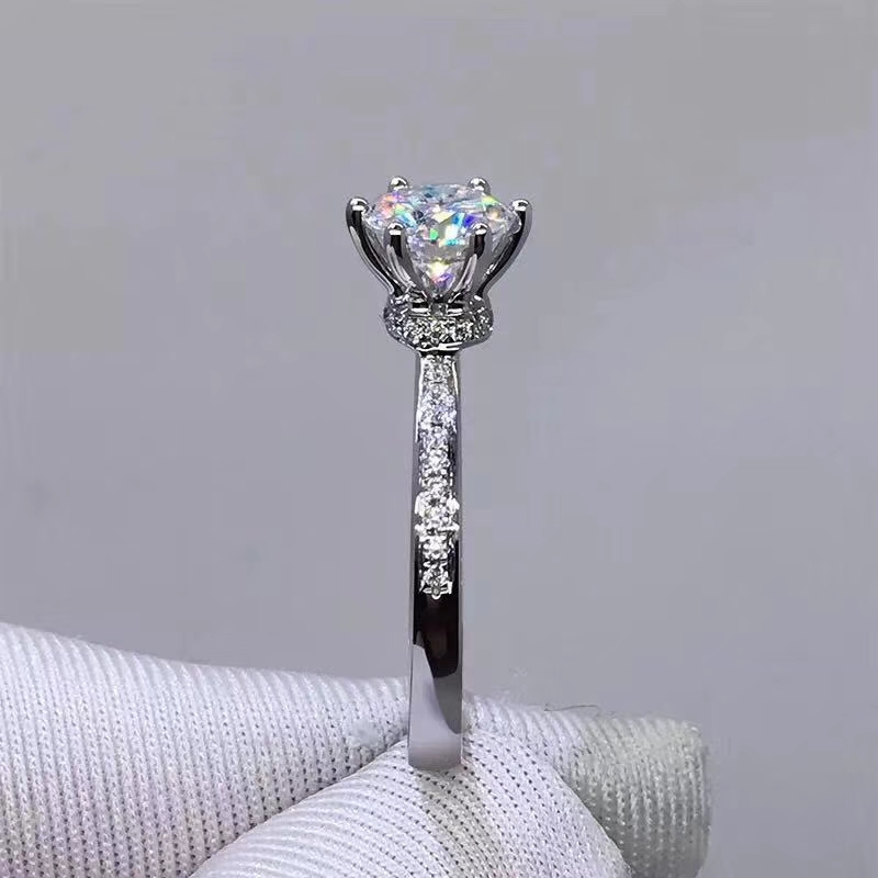 Exquisitie crépitant moissanite bague en pierres précieuses femmes bijoux cadeau bague de fiançailles six griffes ensemble brillant mieux que diamant cadeau