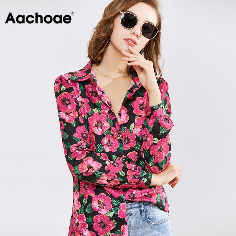 Women Shirts 2020 Long Sleeve Casual Blouses Floral Print Shirt Turn Down Collar Elegnat Blouse Ladies Office Tops Chemise Femme