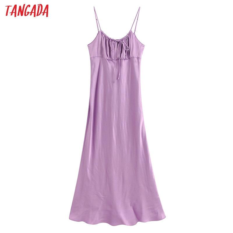 Tangada Fashion Women Solid Purple Summer Dress Strap Ladies Sexy Midi Dress Vestidos BE330