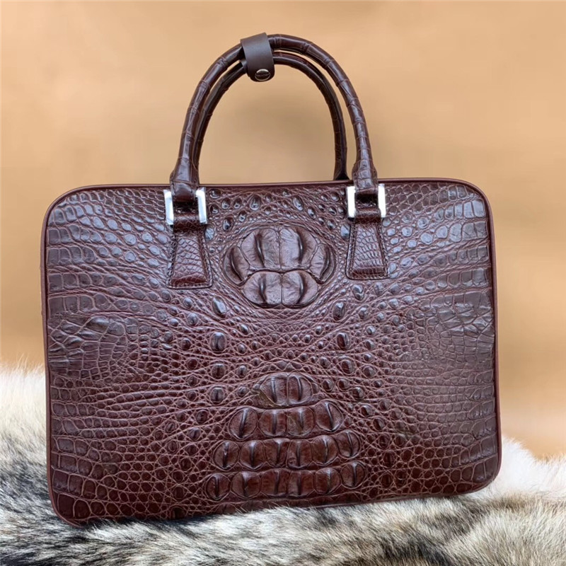 Business Style Genuine Crocodile Skin Zipper Closure Shoulder Bag Men Laptop Handbag Authentic Alligator Leather Male Briefcase