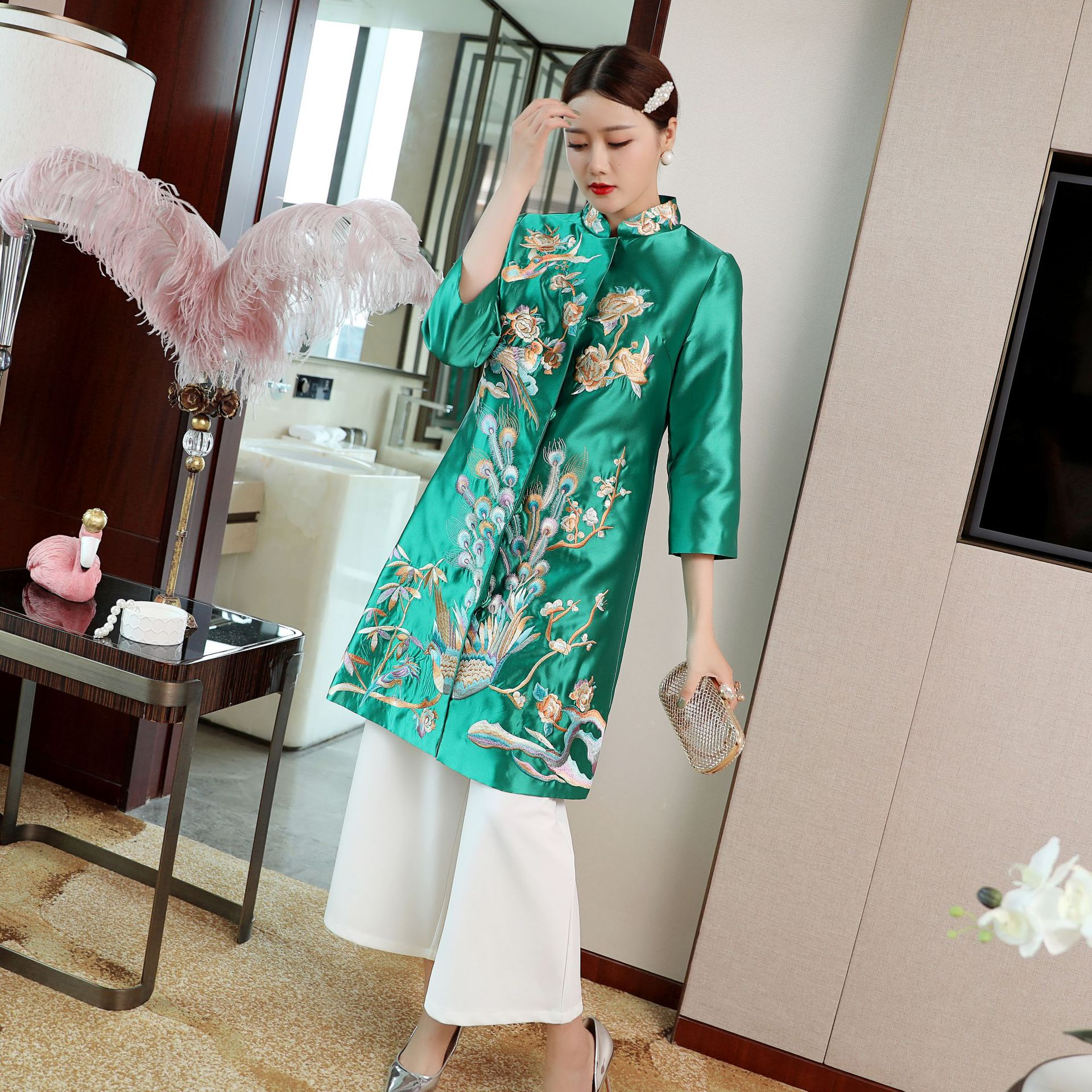 2019 automne hiver style chinois top broderie coupe-vent pour les femmes
