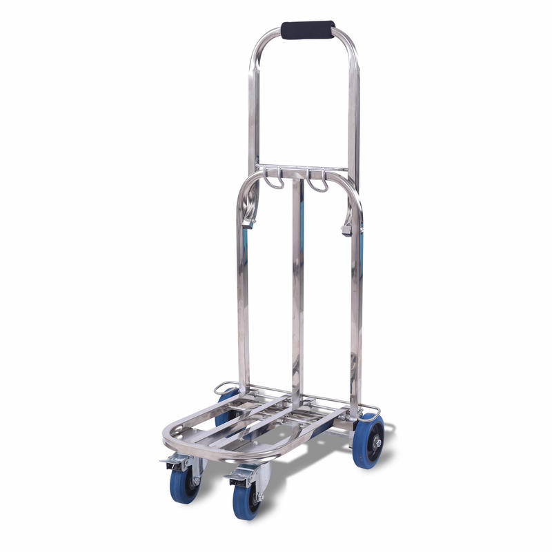 Stainless Steel Portable Luggage Cart with Bungee Cord For Personal, Moving, Travel and Shopping, Folding Wagon Can Load 120KG