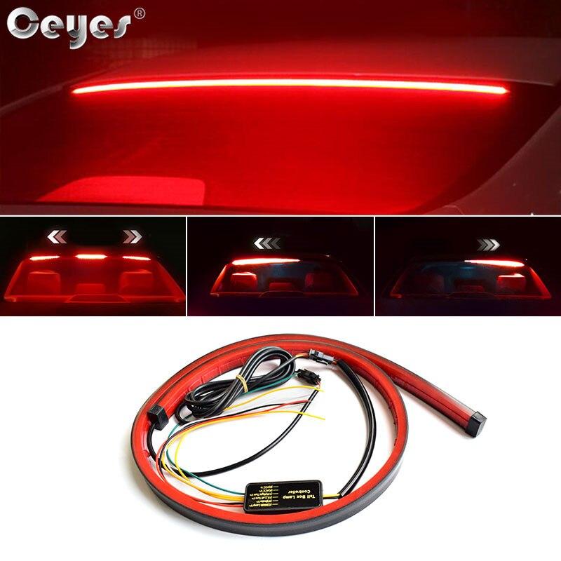 Ceyes 100 centímetros Car Styling Alta Traseiro Semáforos Adicionais Com Unverisal Auto Brake Turn Signal Luz Running CONDUZIDA Flexível tiras
