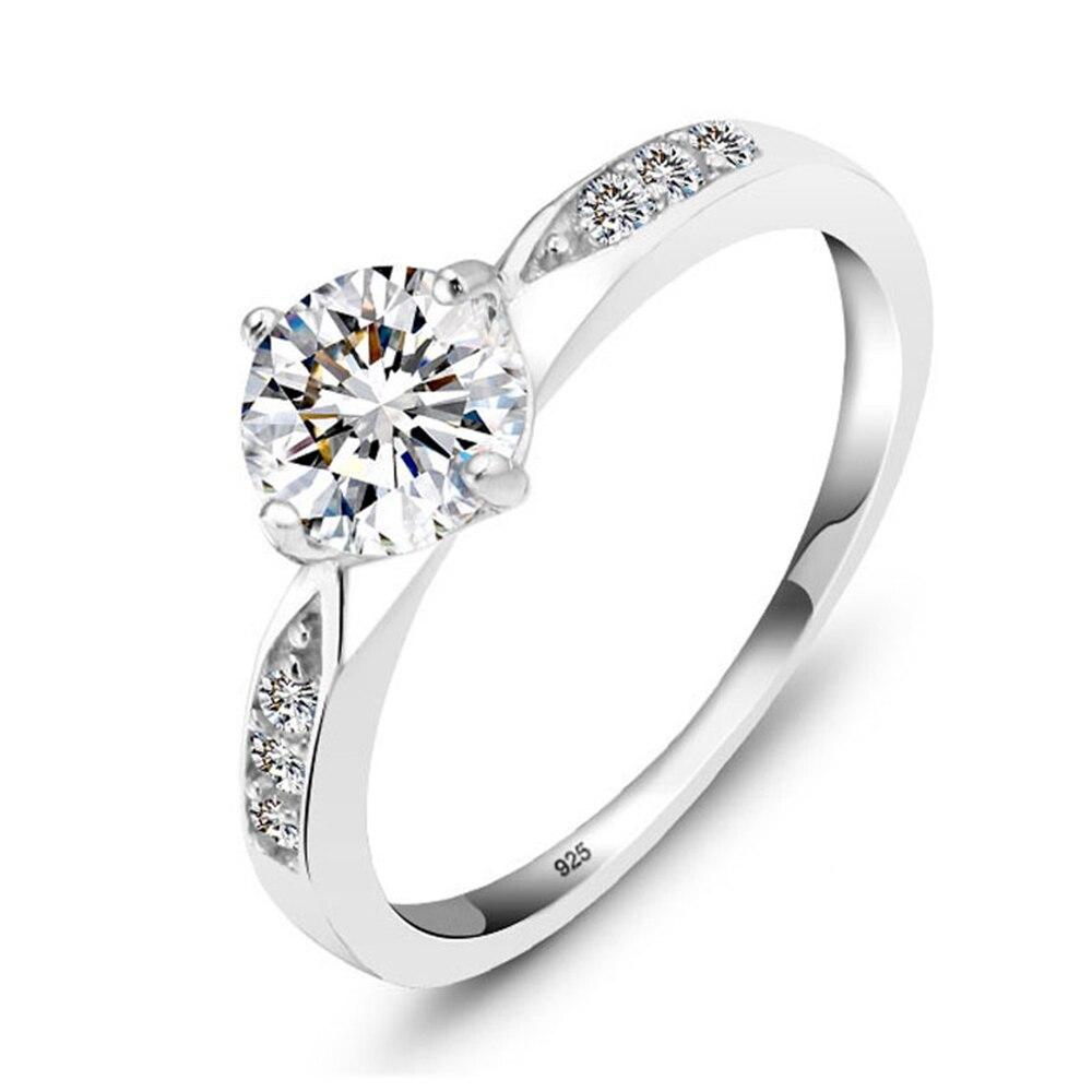 Promise кольцо из стерлингового серебра 925 с кубическим цирконием классические обручальные кольца для женщин подружки невесты подарки(JewelOra RI101321 - Цвет основного камня: R1321