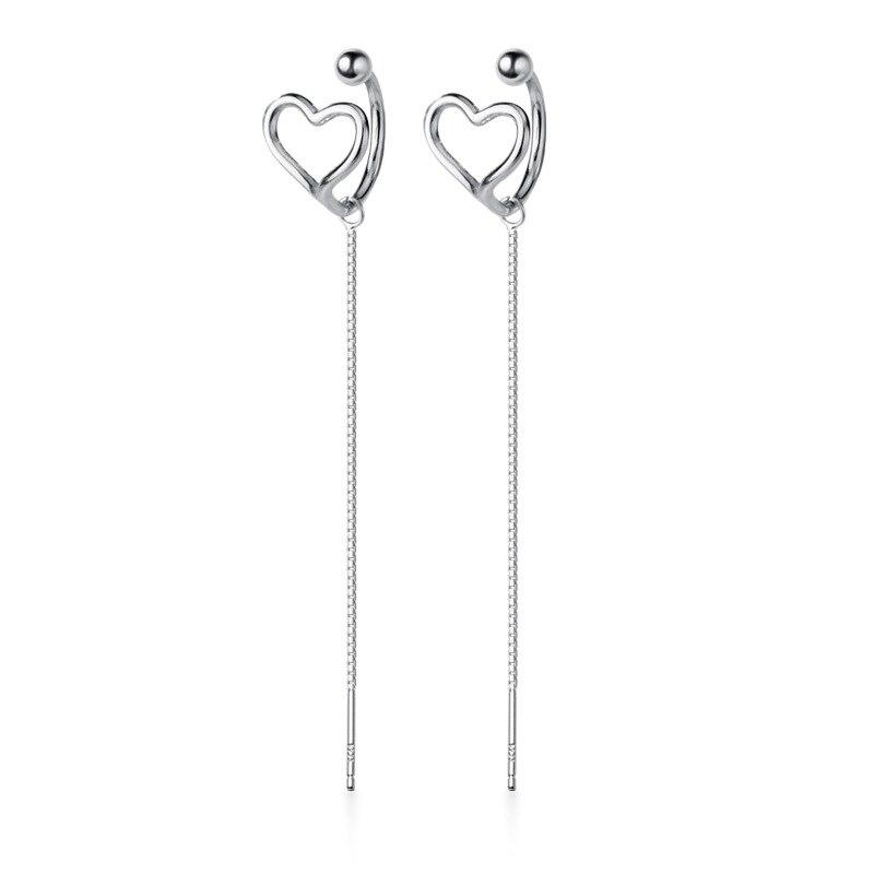 OBEAR Siver Plated Empty Heart-shaped Long Ear Line Ear Clip For Women Wedding Gift Female Earring Jewelry