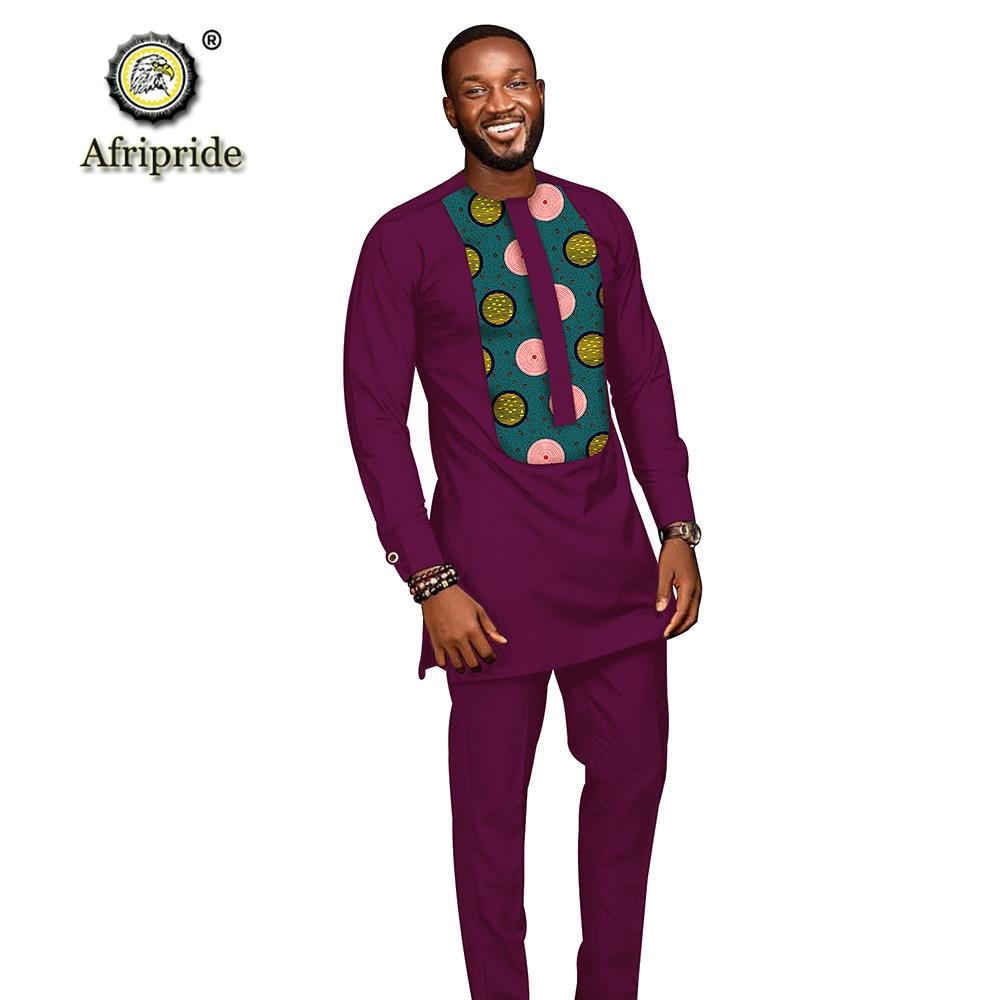 Trajes para hombres africanos 2019 ropa dashiki camisetas con impresión + Pantalones con bolsillos conjunto de 2 piezas blusa atuendo de Ankara AFRIPRIDE S1916005 - 4