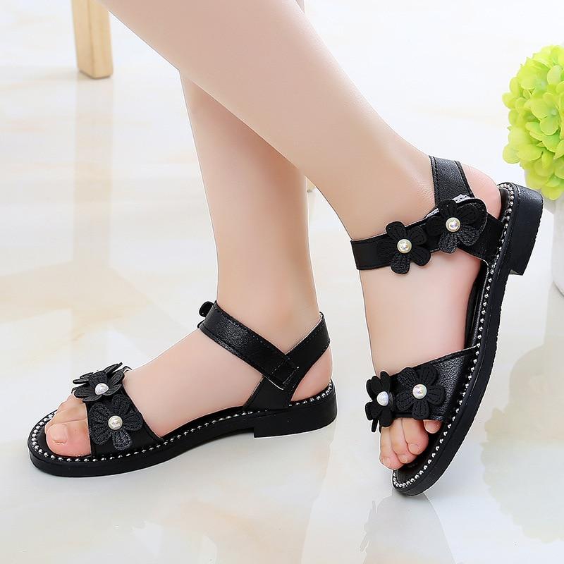2020 New Kid Flat Shoes Summer Little Girl Flower Sandals Big Kids Princess Shoe For Children Sandal 3 4 5 6 7 8 9 10 11 12 Year