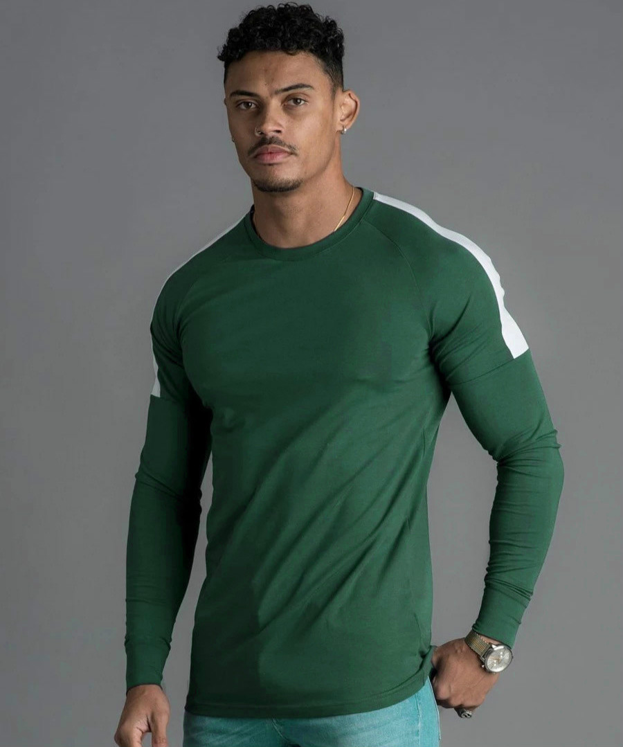 2019 Autumn Men's Long-sleeved T-shirt Fashion Stitching Multi-color Sports Leisure T Shirt Men