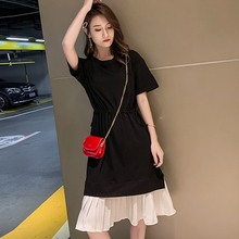 Fashion Novel Design Patchwork Womens Dress Summer Short Sleeve Lace Up 2019Casual Simple A-Line Fake Two Piece Loose