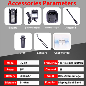 Image 5 - 2pcs Baofeng UV 82 Long Range 8W Walkie Talkie Dual PTT Portable UV 82 Two Way Radio FM Radio Ham Hf Transceiver UV82 CB Radio