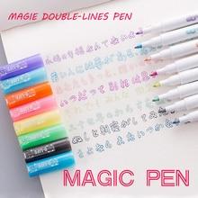 Andstal Double Lines Art Markers Pen Out Line Pen scrapbooking pens Fine Liner Marker Fineliner Calligraphy Lettering Pen Color