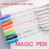 Andstal linhas duplas marcadores de arte caneta para fora linha caneta scrapbooking canetas forro fino marcador fineliner caligrafia caneta rotulação cor