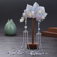 Ancient style Hanfu Headdress Tassel Hairpin Blue leaves Side clips Costume Hairpin accessories Classical Silver Hair Ornaments